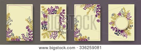 Botanical Herb Twigs, Tree Branches, Leaves Floral Invitation Cards Templates. Bouquet Wreath Natura