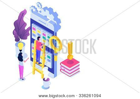 Scrum Or Canban Task Board Isometric Concept. Notes For Agile Software Development. Vector Illustrat