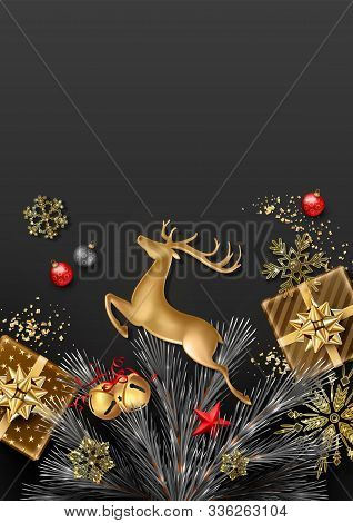 Christmas And New Year Background. Fir Tree Branches With Christmas Decorations, Gold Figurine Of A