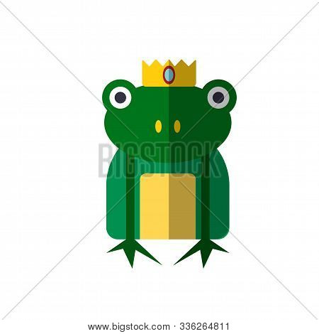 Vector Illustration Of Magic Frog From Princess Fairy Tails. Fairytale Frog With A Crown On Head, Ve