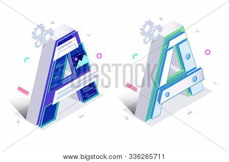 Letters A With Mechanism Links Illustration. Alphabet Signs With Settings Symbol In Light And Dark B