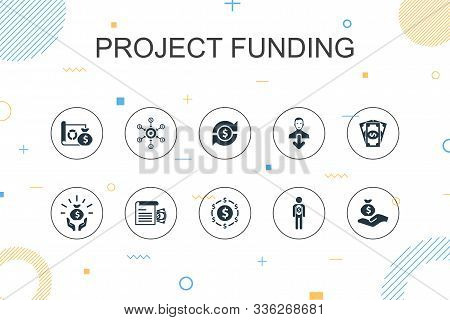 Project Funding Trendy Infographic Template. Thin Line Design With Crowdfunding, Grant, Fundraising,