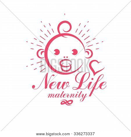 Cute Smiling Baby Face Vector Emblem. Maternity And New Life Concept. Prenatal Center And Motherhood