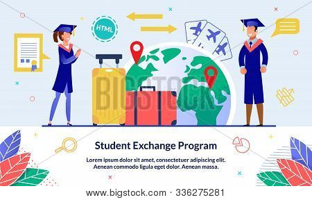 Vector Illustration Student Exchange Program. Guy And Girl With Suitcases Uniform Are Standing Again