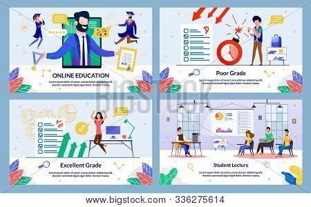 Flat Banner, Inscription Excellent Grade, Cartoon. Set Online Education, Poor Grade, Student Lecture