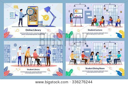 Set Student Lecture, Student Library, Cartoon. Online Library, Student Dining Room. Modern Library I