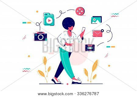 Young African American Woman With Afro Hairstyle And Smartphone. Isolated Concept Diverse Girl Chara
