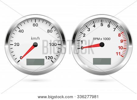 Speedometer And Tachometer. 3d Round Gauges Set. Vector Illustration Isolated On White Background