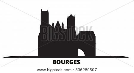 France, Bourges City Skyline Isolated Vector Illustration. France, Bourges Travel Black Cityscape