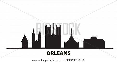 France, Orleans City Skyline Isolated Vector Illustration. France, Orleans Travel Black Cityscape
