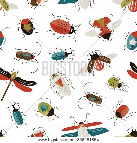 Bugs And Beetles Vector Seamless Pattern. Entomology And Insects Colorful Backdrop. Dragonfly, Ladyb