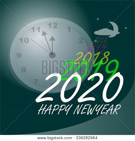 Happy Newyear 2020 Greeting Card With Clock, Like A Dreamer Waiting For Newyear