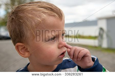 A Baby Boy Is Picking Her Nose With Finger Inside
