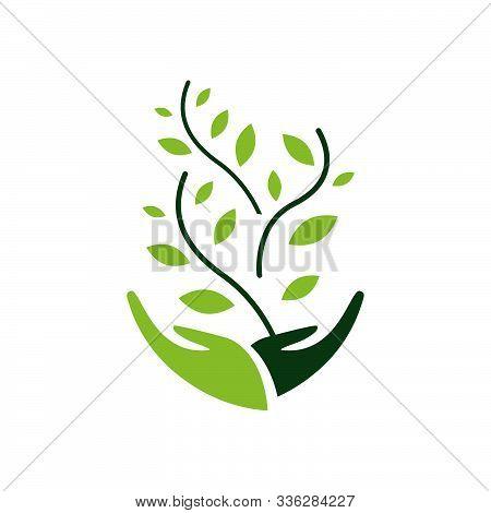 Environmental Sustainability Logo Vector Illustration. Sign Of Earth Wildlife Conservation Symbol. E