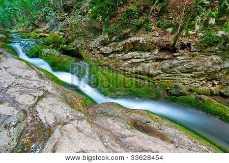 Forest Stream Flowing Between The Rocks