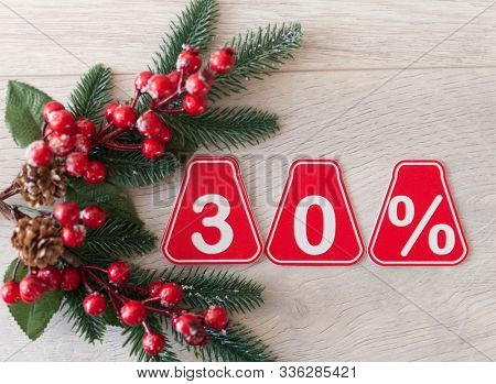 selling 30 percent. Big sale 30%, thirty percent on wooden background for flyer, poster, shopping, sign, discount, marketing, sale, banner, website, headline