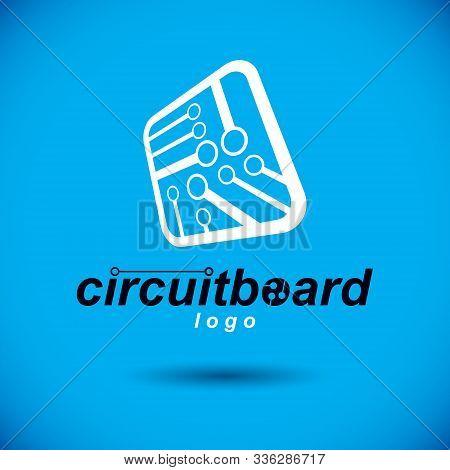 Vector Technology Cpu Design With Square Microprocessor Scheme. Computer Circuit Board, Digital Elem