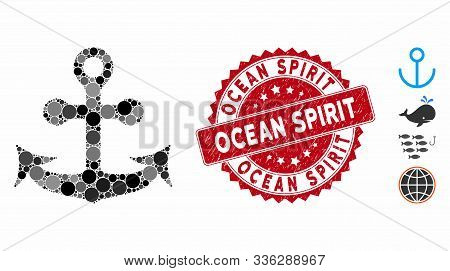 Mosaic Anchor Icon And Distressed Stamp Watermark With Ocean Spirit Phrase. Mosaic Vector Is Created