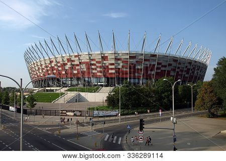Warsaw, Poland. 9 June 2017. National Football Stadium  In Warsaw. Pge Narodowy. Sunny  Day With A B