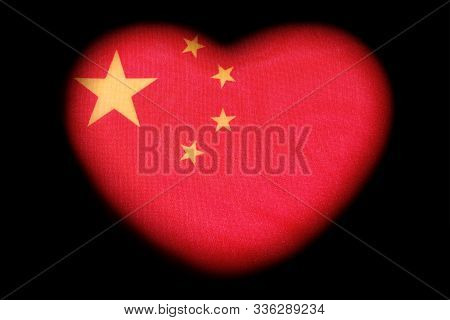 Flag Of China. Red Heart With Yellow Stars. Symbol Of Love, Patriotism Or Wedding In Asia. The Conce