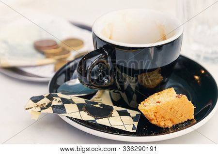 Coffee Cup On Table. Black Coffee Cup. Espresso Coffee On White Table Background. Fresh Coffee. Latt