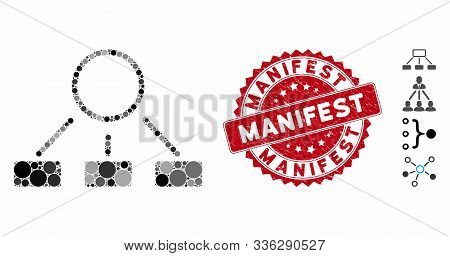 Mosaic Hierarchy Icon And Rubber Stamp Watermark With Manifest Text. Mosaic Vector Is Composed With