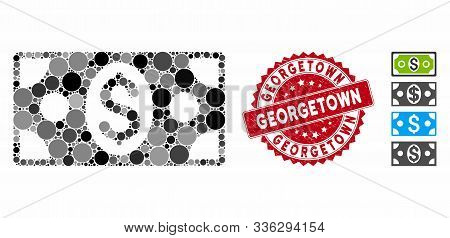 Collage Banknote Icon And Distressed Stamp Seal With Georgetown Caption. Mosaic Vector Is Formed Wit