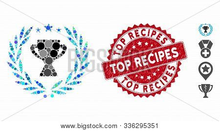 Mosaic Glory Emblem Icon And Rubber Stamp Seal With Top Recipes Phrase. Mosaic Vector Is Composed Wi