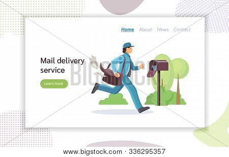 Postman Work Courier Running With A Bag Of Letters