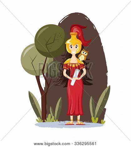 Ancient Greek Mythological Goddess Athena Vector Cartoon Illustration