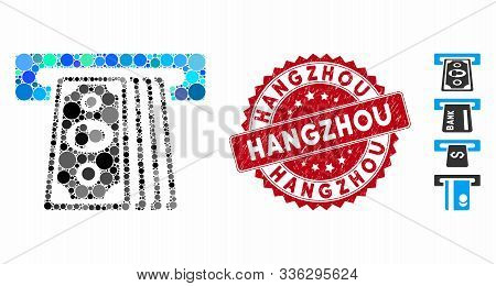 Mosaic Cashpoint Terminal Icon And Rubber Stamp Watermark With Hangzhou Text. Mosaic Vector Is Forme