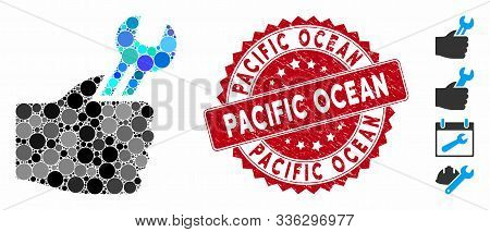 Mosaic Service Hand Icon And Corroded Stamp Seal With Pacific Ocean Text. Mosaic Vector Is Created W