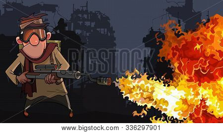 Cartoon Man With A Flamethrower In The Ruins Of Post Apocalypse