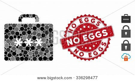 Mosaic Cipher Case Icon And Distressed Stamp Seal With No Eggs Phrase. Mosaic Vector Is Created With
