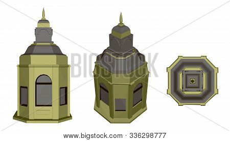 Set With Polygonal Building With A Dome. Front View, Isometric And Top View. 3d. Vector Illustration