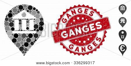 Mosaic Bank Marker Icon And Rubber Stamp Seal With Ganges Text. Mosaic Vector Is Composed From Bank