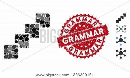 Collage Blockchain Icon And Rubber Stamp Seal With Grammar Caption. Mosaic Vector Is Composed With B