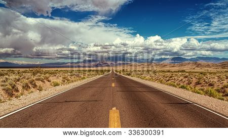 Asphalt Road On A Picturesque Nevada Highway In The Desert. Nevada, Usa.
