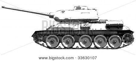 Russian tank T 34 of World War II - monochrome vector drawing poster