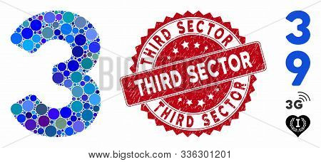 Mosaic 3 Digit Icon And Grunge Stamp Seal With Third Sector Text. Mosaic Vector Is Composed From 3 D