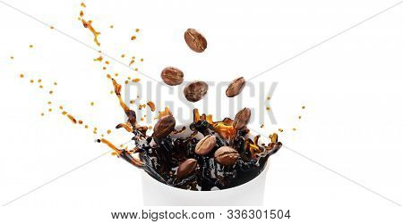 Hot takeway espresso morning coffee splash in cardboard paper cup. Coffee to go fragrant drink splashes. Falling down coffee beans isolated on white background. Banner. 3d rendered illustration.