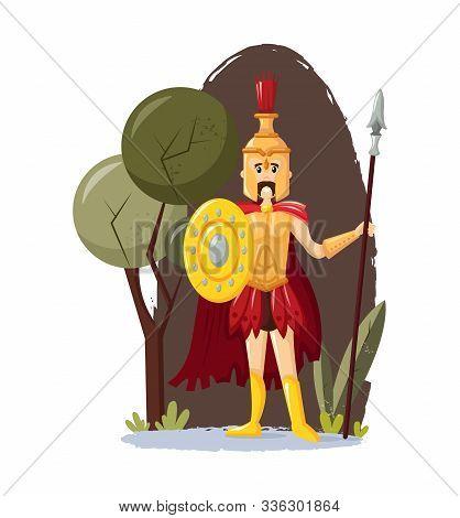 Ancient Greek Mythological God Ares Vector Cartoon Illustration