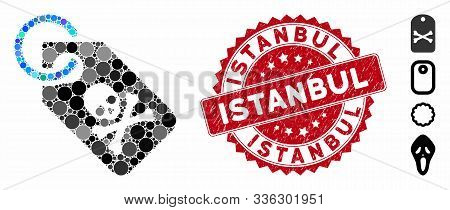 Mosaic Death Tag Icon And Rubber Stamp Watermark With Istanbul Text. Mosaic Vector Is Formed With De