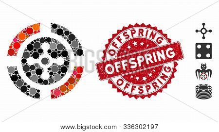 Mosaic Roulette Icon And Grunge Stamp Watermark With Offspring Caption. Mosaic Vector Is Designed Fr