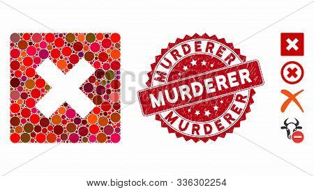Mosaic Close Icon And Grunge Stamp Seal With Murderer Text. Mosaic Vector Is Composed With Close Ico