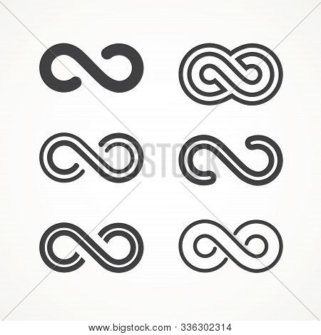 Infinity Symbol. Vector Logos Set. Black Contours Of Different Shapes, Thickness And Style Isolated