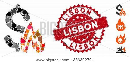 Mosaic Fire Disaster Icon And Distressed Stamp Seal With Lisbon Phrase. Mosaic Vector Is Created Wit