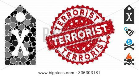 Mosaic Dead Marker Icon And Grunge Stamp Seal With Terrorist Text. Mosaic Vector Is Composed With De