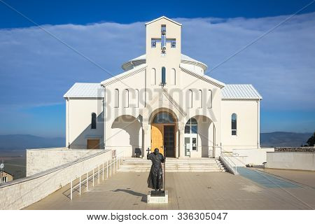 Udbina, Croatia - October 8, 2019 : Modern New Church Of The Croatian Martyrs Made 2010 Year.the Cor