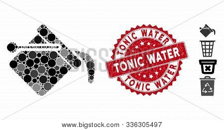 Mosaic Paint Bucket Icon And Rubber Stamp Watermark With Tonic Water Text. Mosaic Vector Is Created